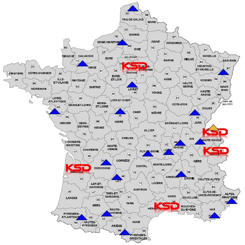 Carte de France des distributeurs KSD